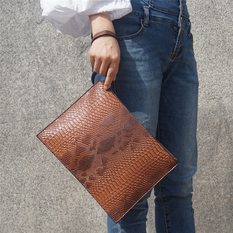Snake Pattern Women Enveloppe Bags Pu Leather Women's Clutch Bag Brand Design Party Clutches For Ladies Wallet Free Card Bag