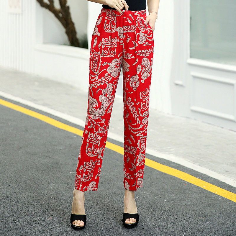 22 Colors 2020 Women Summer Casual Pencil Pants XL-5XL Plus Size High Waist Pants Printed Elastic Waist Middle Aged Women Pants 22