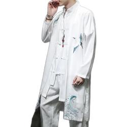 Plus Size Men Trench Coat Loose Outwear Long New Chinese Type Casual Loose Flying Crane Embroried Long Jacket Men Clothes XXXXXL