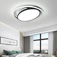 Luzes de teto modernas led luzes da sala estar para o quarto redondo preto branco AC85 265V iluminação alumínio casa lâmpada do teto|Luzes de teto|   -