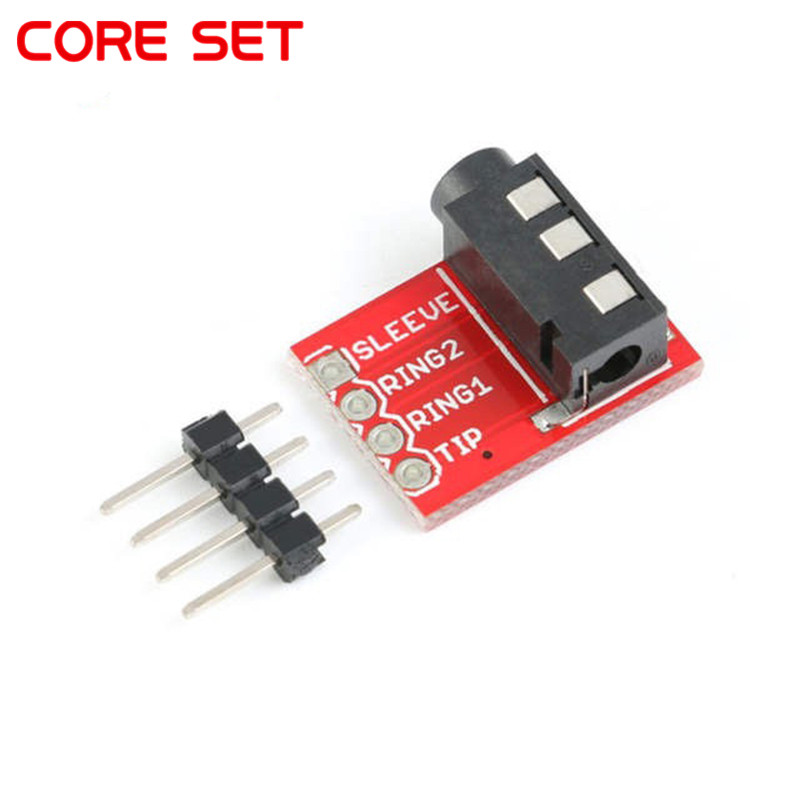 <font><b>3.5mm</b></font> <font><b>Plug</b></font> Jack Stereo Plastic + Metal <font><b>TRRS</b></font> Headset Audio Socket Breakout Board Extension Connector Module <font><b>3.5mm</b></font> jack image