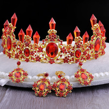 Red Crown Wedding Gold Royal Bridal Tiara Queen Bride Crowns and Earring Pageant Baroque Headband Princess Hair Jewelry Ornament barroco headband crown europe and large baroque married crown tiara women jewelry