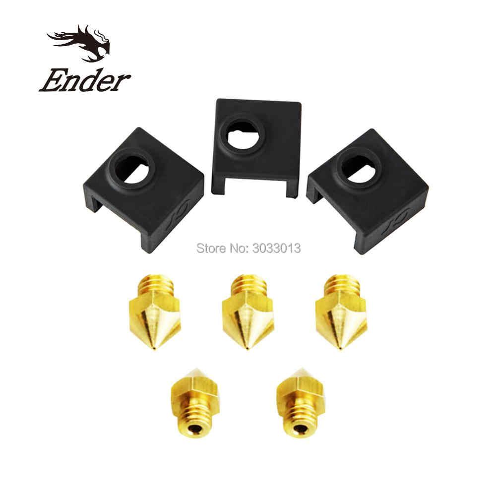5 наконечник шт. + 3 шт. нагреватель Блок Силиконовый чехол 3D Принтер часть Mix Размер сопла 0,2/0,3/0,4/0,5/0,6 мм Экструдер сопла печатающей головки сопла