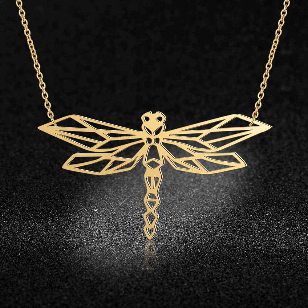 100% Stainless Steel Animal Dragonfly Fashion Necklace for Women Female Trendy Jewelry Unique Design Pendant Necklaces Wholesale