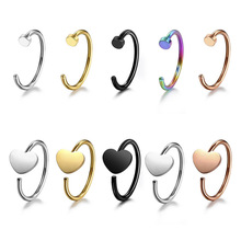 10pcs/stainless steel colorful mixed universal Nose & Lip Ring 8cm Body Piercing earring tragus ring Hypoallergenic Jewelry