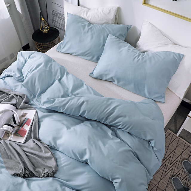 Solid Color Sanding Polyester Bedding Set 2/3PCS Duvet Cover Set,Comfortable Bed Linens (No Fitted Sheet) Home Textile 3