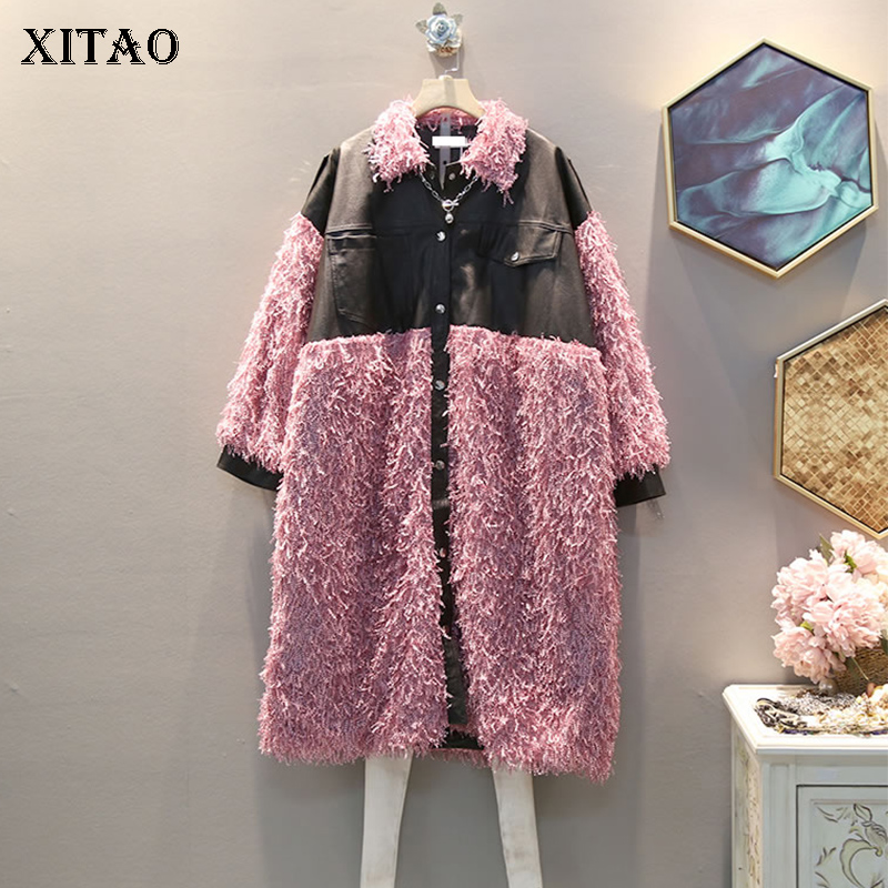 XITAO Hit Color Tassel Patchwork Pu Coat Women Clothes 2019 Fashion Pocket Personality Turn Down Collar Trench Top New  GCC2551