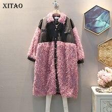 XITAO レトロヒットカラータッセルパッチワーク Pu コートの女性の服 2019 ファッションポケット人格ターンダウン襟トレンチトップ新 GCC2551