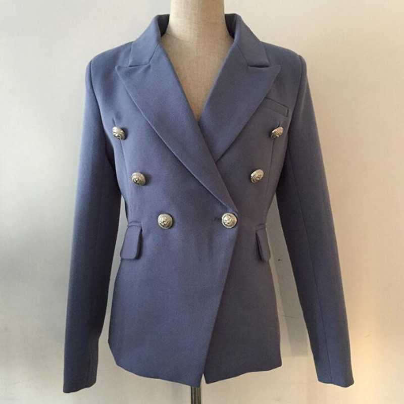 Vintage Runway Designer High Quality Blazer Women's Double Breasted Elegant Long Sleeve Ladies Coat Jacket Blazer Mujer 2019
