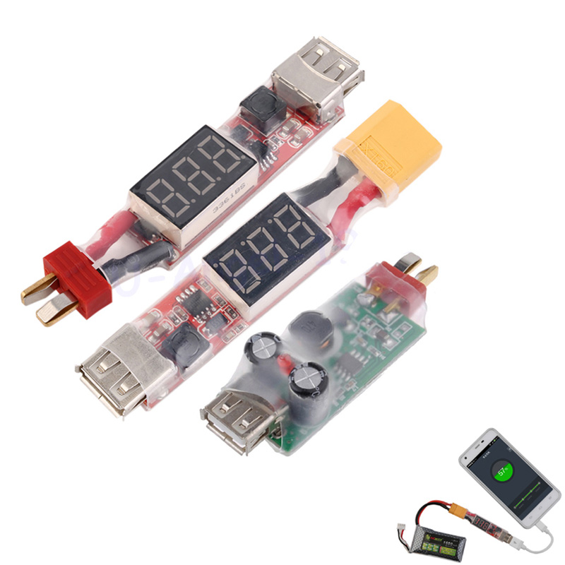 2S-6S Lithium Battery Charger Converter T-Plug XT60 Plug With Voltage Display For Iphone Ipad HTC
