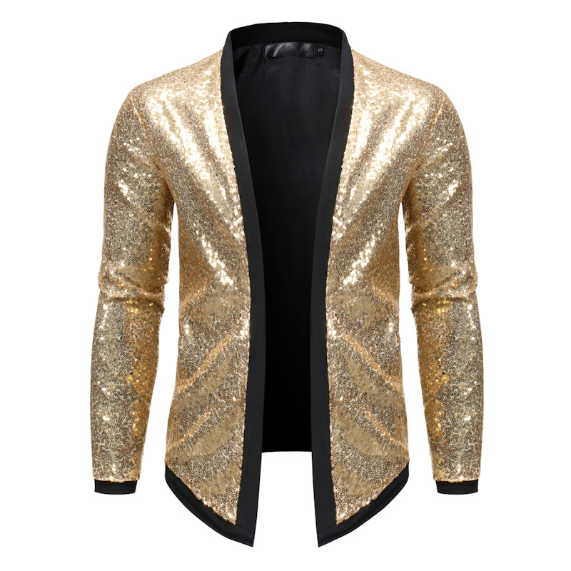 Mens Dance Performance Cardigan Jacket Fashion Men Gold Sequins Jacket Coats For Male Nightclub Party