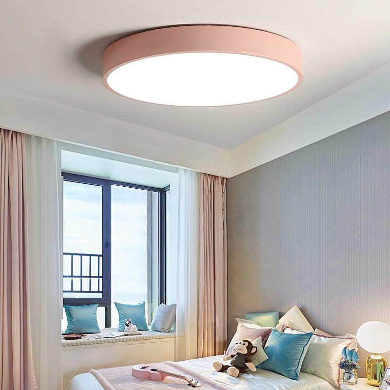 Luces Led de techo, lámpara de techo moderna regulable para dormitorio, lámparas de habitación nórdica para niños, Plafonnier Led, lámpara de techo 5cm delgada