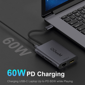 Image 3 - QGeeM 8 Trong 1 Hub USB C Cho Macbook Pro Hub USB 3.0 Adapter PD HDMI RJ45 TF SD 3.5mm Aux Loại C Hub Cho iPad Pro Bộ Chia Dock