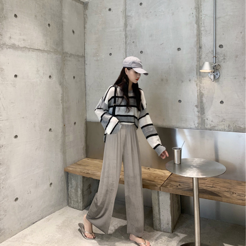 2019 Online Celebrity Early Autumn WOMEN'S Dress Western Style Younger Fashion Loose Pants Tops High Cold Royal Sister-Style Two