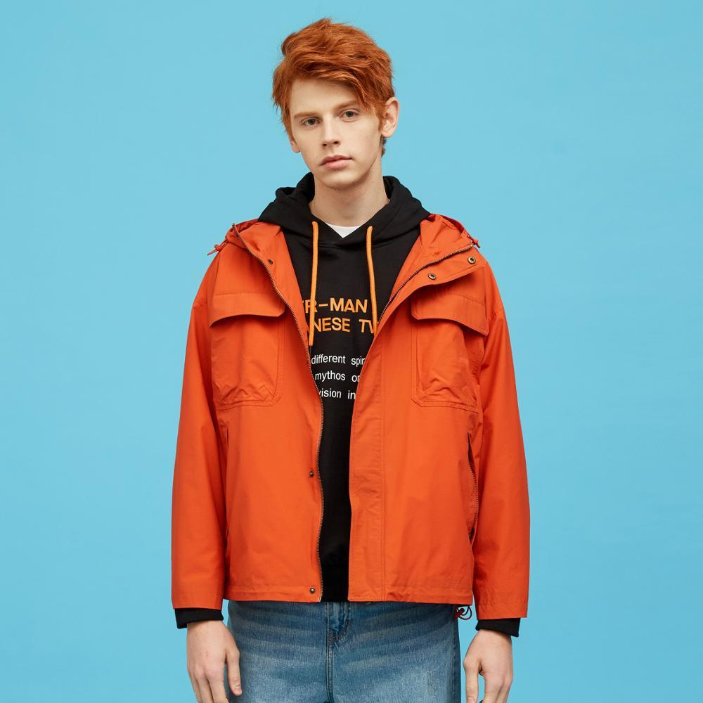 Metersbonwe, Мужская Новинка 2020, Весенняя повседневная куртка, Мужская, красивая, модная, с капюшоном, однотонная, расслабленная, трендовая, повсе... - 5