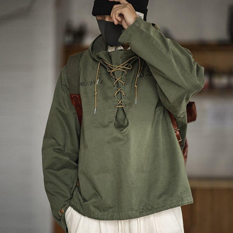Madden male Hooded Pullover Long Sleeve Deck Parker Jacket Drawstring Neckline Workwear Jacket Green Cuffs Ribbon Closure Jacket