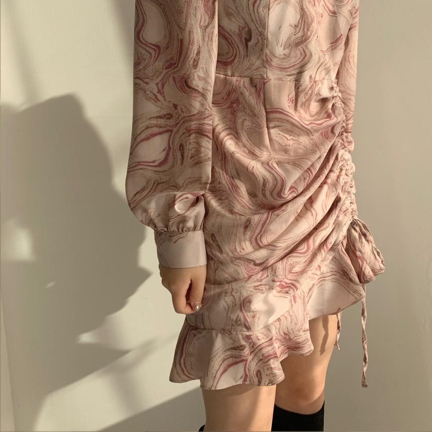 Hed551a0ac5564324b5b88e7adc08c961G - Autumn V-Neck Long Sleeves Chiffon Drawstring Abstract Print Mini Dress