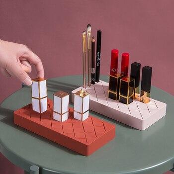 Caja de almacenamiento de lápiz labial de silicona, organizador de maquillaje, soporte de exhibición, pincel de maquillaje, soporte para lápiz de cejas, cosméticos, 12/24/36 rejillas