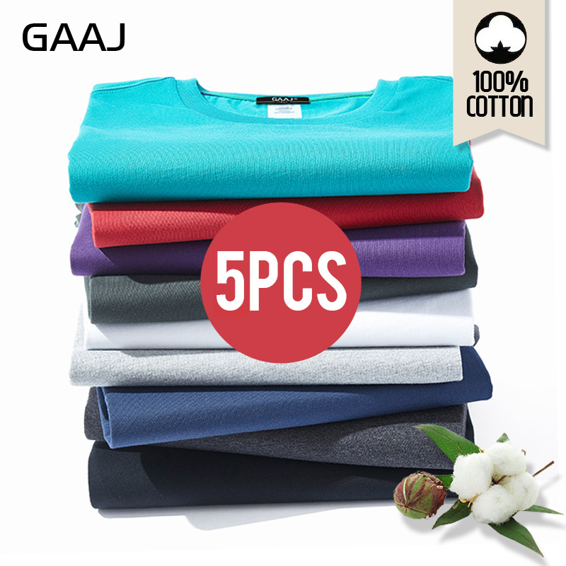 2021 GAAJ T Shirt Men 100 Cotton 5 Pieces Pcs Lot Tshirt Basic Blank T shirt Mens Tshirt 5 Pack Solid Top Streetwear Tee Shirt|T-Shirts| - AliExpress