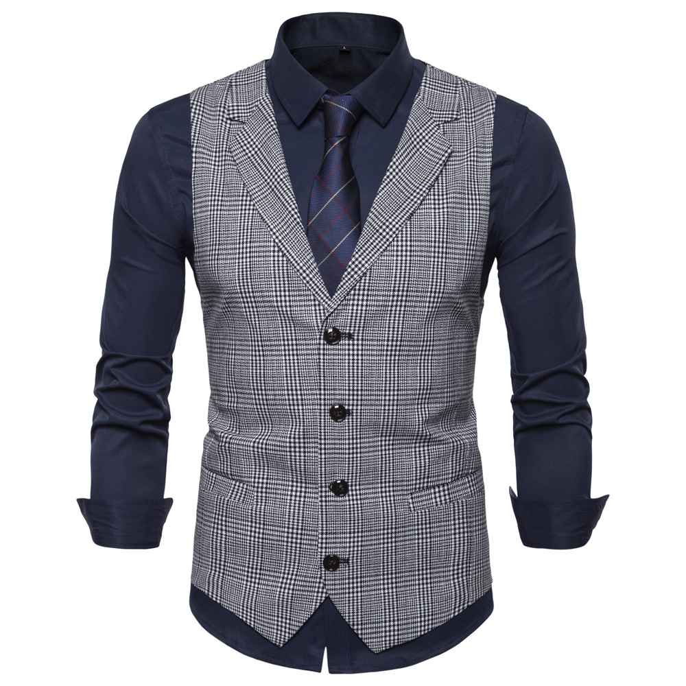 2020 New Suit Vest Men Jacket Sleeveless Business Checkered Vest Fashion Spring Autumn Plus Size Waistcoat