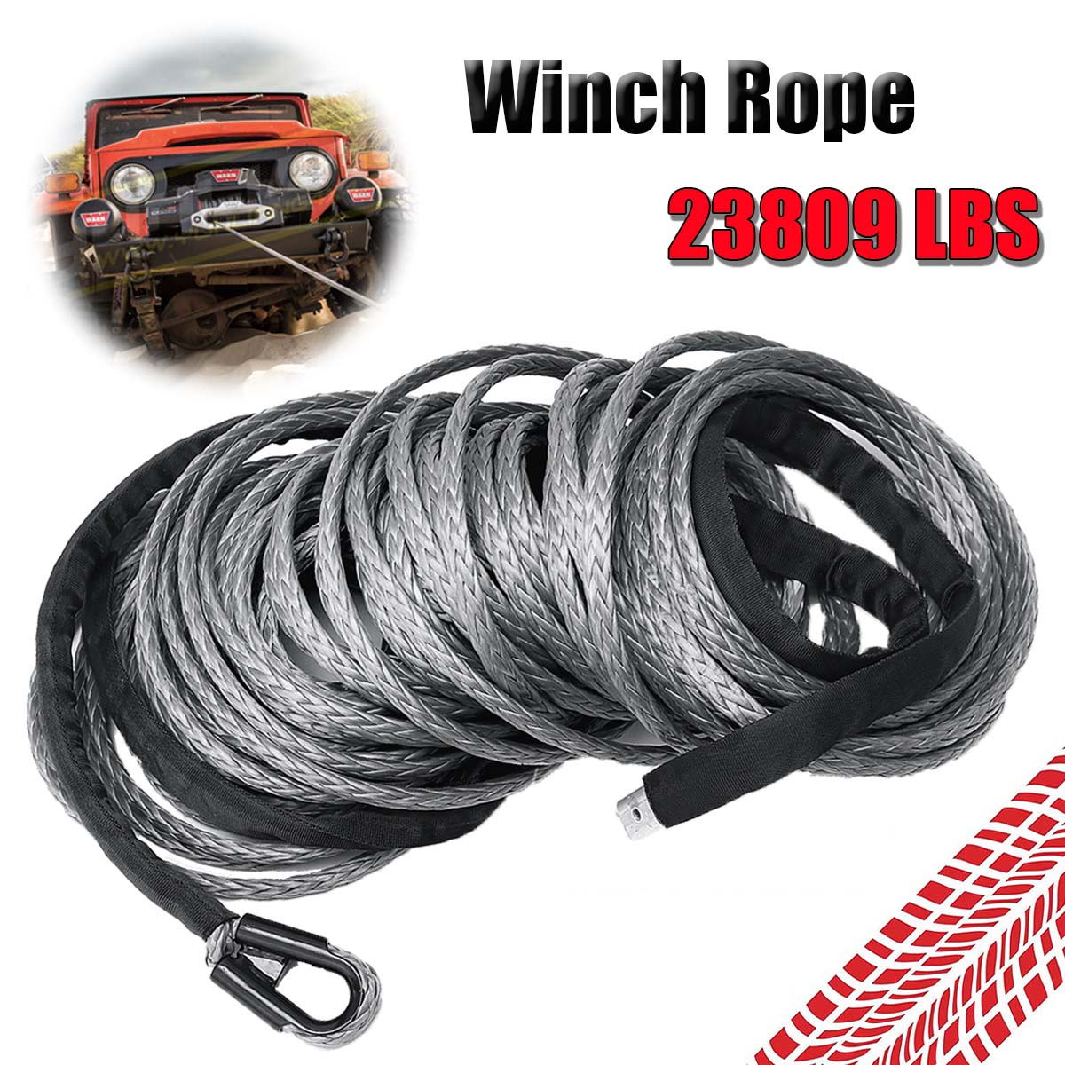 10MMx30M 23809LBS Synthetic Winch Rope Heavy Duty Towing Rope Line Grey Recovery Cable Tow Cord for 4WD Offroad ATV