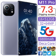 2021 Hot Sell Global Version M11 Pro 7.3Inch Smartphone 6800mAh 16+512GB 32+64MP Full Screen Face Unlock 5G Android Mobile Phone