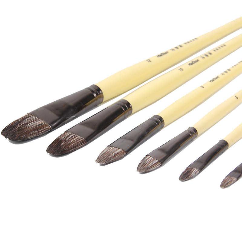 6 unids/set... hilera de pelo de comadreja de alto grado de plumas pincel de pintura de pico de lengua pintura al óleo acrílica acuarela suministros de arte profesional