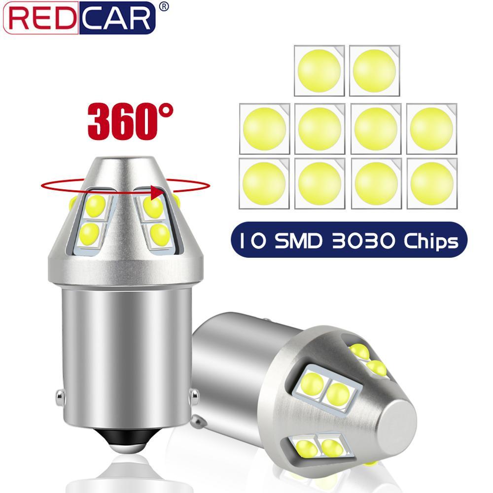 2 uds P21W bombilla Led 1156 BA15S coche LED luz 1157 BAY15D BAU15S PY21W intermitente trasero luz de freno LUZ DE 10SMD 3030 fichas Auto 12V