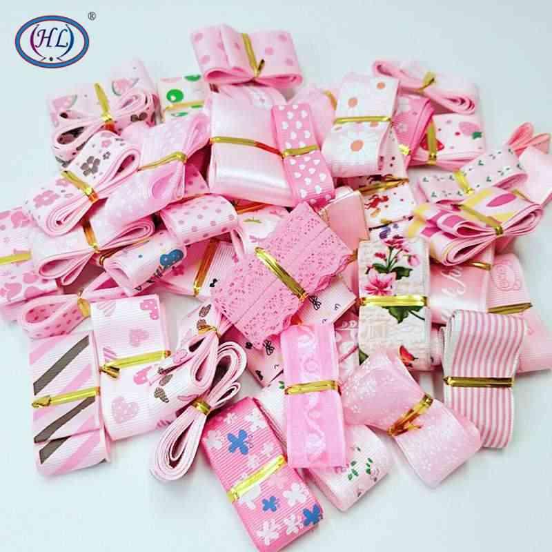 HL losowe 15 jardów 10-40mm różowa seria ryps/Organza/satynowa wstążka DIY nakrycia głowy zawijanie dekoracje ślubne i świąteczne materiały