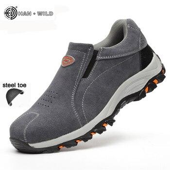 Pria Keselamatan Kerja Sepatu Fashion Bernapas SLIP ON Santai Sepatu Boot Pria Asuransi Tenaga Tusukan Kaki Baja Tahan-tembakan Sepatu Pria