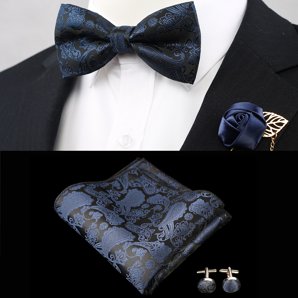 3 PCS Mens Solid Color Pocket Square Bows Tie Set Royal Blue Adjustable Handkerchief Bowtie Set Wedding Party Paisley Hanky Lot