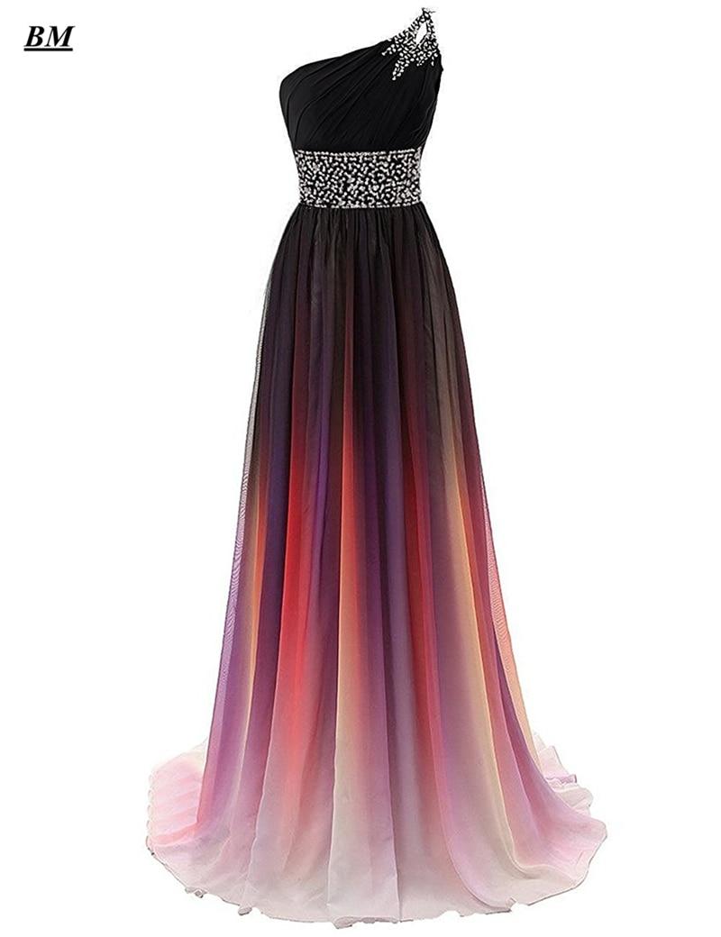 2019 Sexy Gradient Chiffon Prom Dresses Bead Long Formal Evening Dress Plus Size Ombre Party Gown Vestido De Formatura BM04