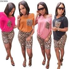 CM.YAYA-ensemble pour femme imprimé léopard, T-shirt col en v, pantalon, longueur aux genoux, survêtement, tenue de sport, ensemble deux pièces