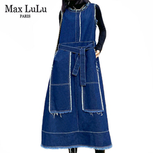 Vest Dress Max-Lulu Ladies Spring Women Vintage Casual Fashion Sleeveless Luxury Female