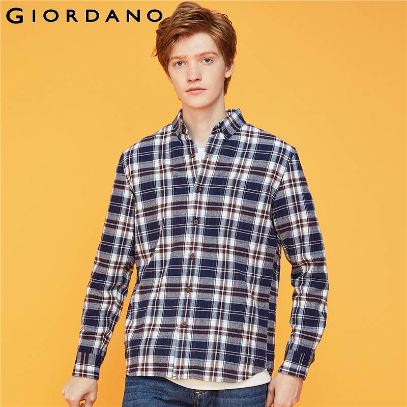 Giordano Men Shirt Flannel Plaid Long-sleeve Camisa Masculina 100% Cotton Slightly Thick Camisas Hombre 01049886