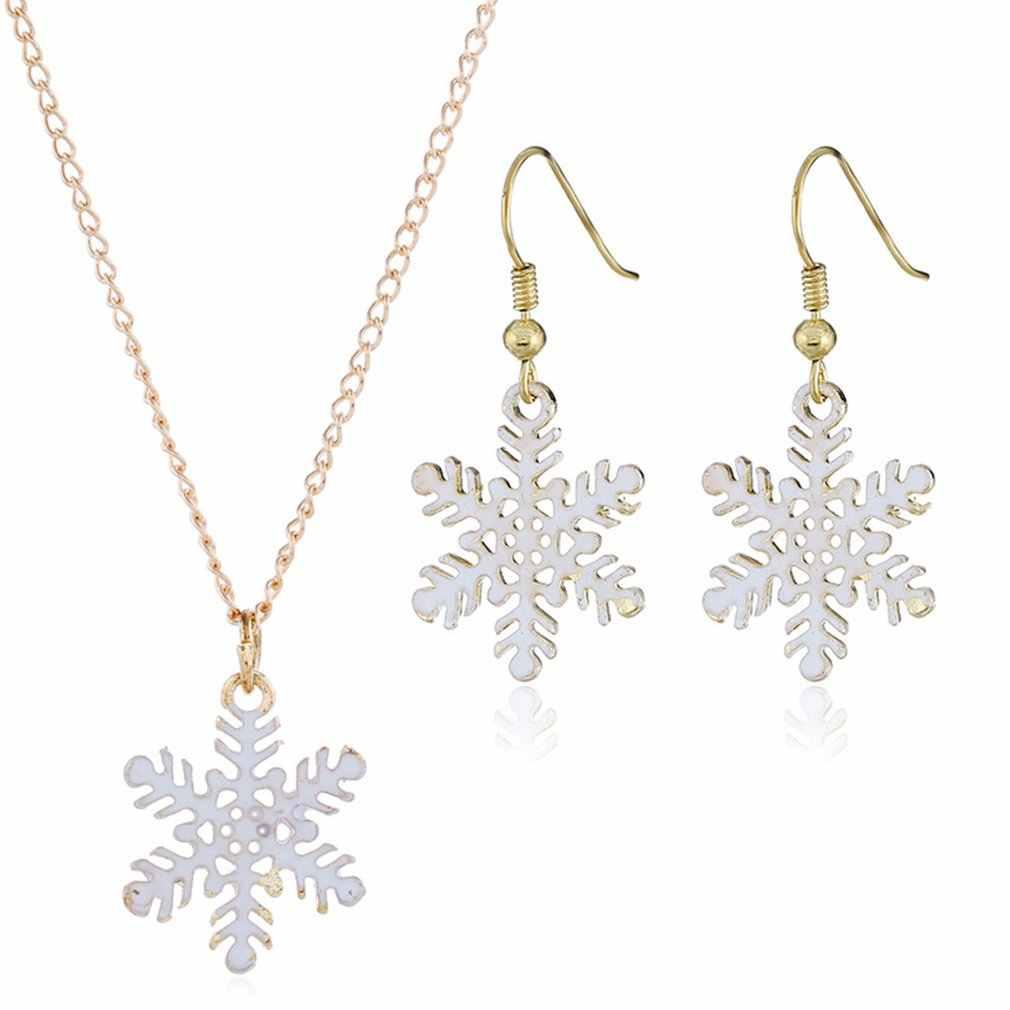 Cute Cartoon Drop Oil Color Santa Snowman Christmas Gift Earrings Necklace Set Professional Fashion Portable