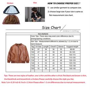 Image 5 - Kids Jacket Boys Coats Autumn New Spring PU Leather Jacket Childrens Plus Velvet Warming Cotton Outerwear Baby Boy Thin Clothing