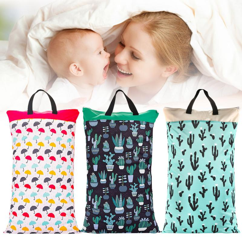 Baby Diaper Bag Waterproof Reusable Portable Travel Diaper Wet Dry Bag Baby Fabric Bag Carrying Storage Bag with Zippered Pockets