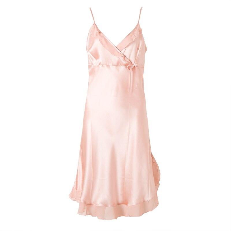 100% Pure Silk Nightgowns Women Sexy Sleepwear Home Dresses SILK Nightdress SATIN Nightie Summer Style Dress BLUE RED