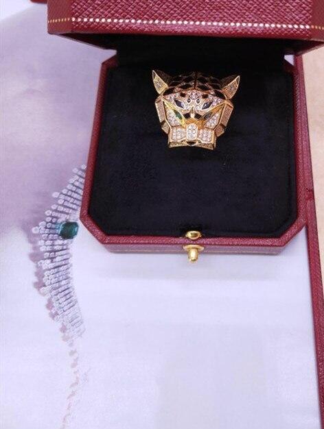 Créateur de mode bijoux de fête 3A zircon cubique panthère anneau tête d'animal léopard anneau de doigt marque célèbre 6/7/8/9/10 taille