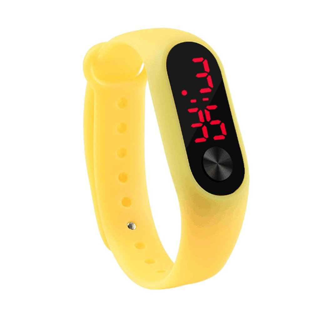 Men Women Casual Sports Bracelet Watches White LED Electronic Digital Candy Color Silicone Wrist Watch for Children Kids 4