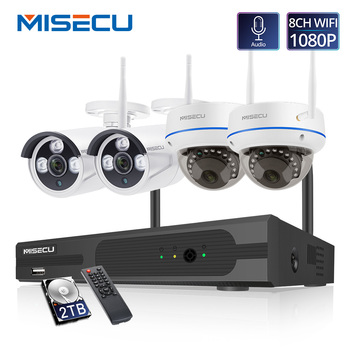 MISECU  4CH 1080P Wireless CCTV System 2MP IP Camera Audio Waterproof  Outdoor Indoor  WIFI Camera System Video Surveillance Kit sunell ea 92491 4ch 1080p professional ip camera
