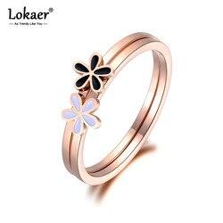 Lokaer-Double anneau de fleurs pour femmes et filles, bijoux d'anniversaire, en acier inoxydable, or Rose, Anneaux R19009