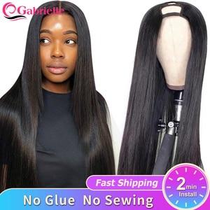 Gabrielle Hair Brazilian Straight U Part Wig Clip on 30 inch Glueless Human Hair Wig 150% Density Remy Hair