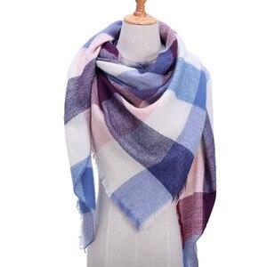 Image 4 - Plaid couleur Simple femmes écharpes 2019 triangulaire 140*140*210cm cachemire chaud automne hiver châles enveloppes écharpe pour les femmes