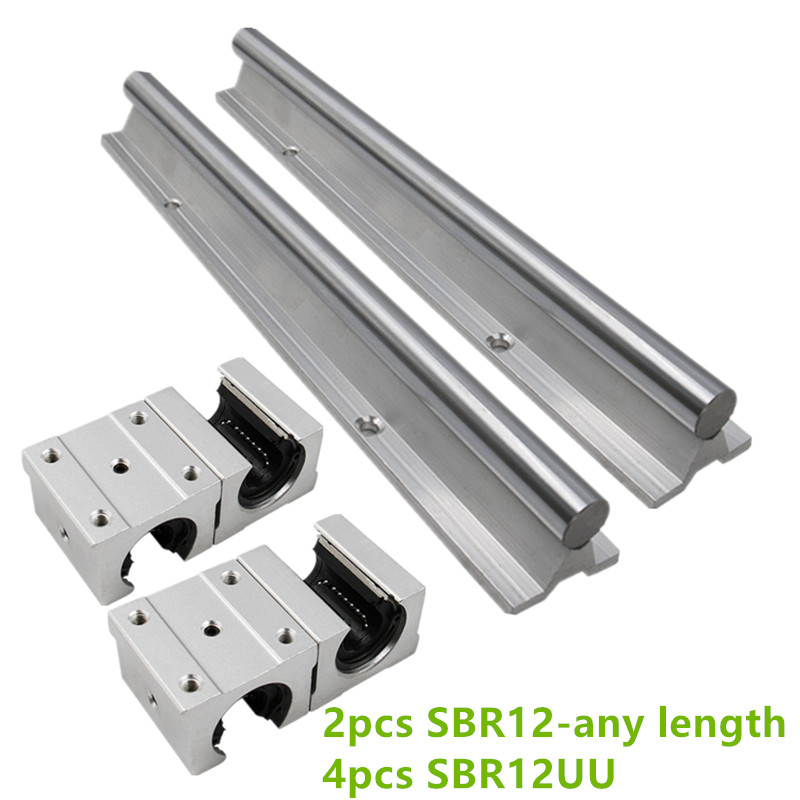 2Pcs SBR16-300mm 16mm Linear Slide Rail Shaft 4Pcs SBR16UU Bearing Block CNC