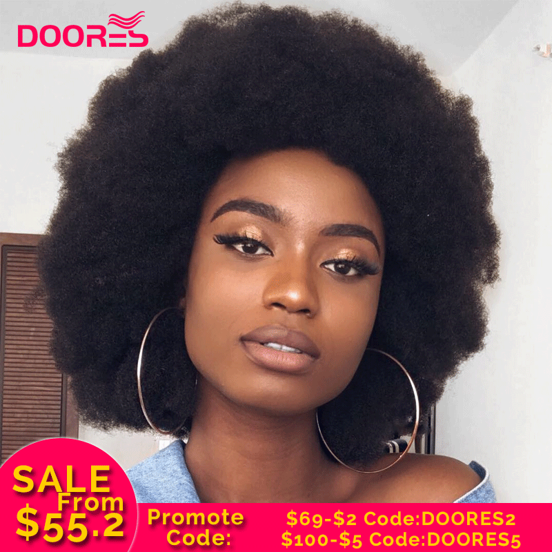 Afro Kinky Curly Wigs For Women Lace Closure Wig Remy Puffy Kinky Curly Human Hair Wigs Short Bob Lace Front Wigs Doores 150%