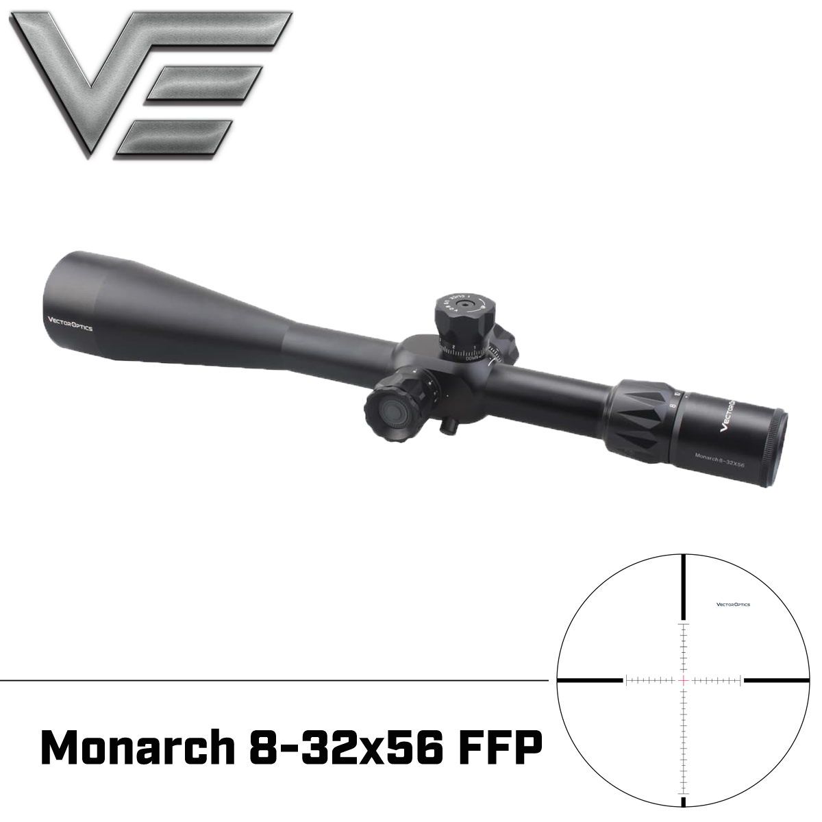 Vector Optics Monarch 8-32x56 FFP Tactical Riflescope 1/8 MOA Mildot Reticle With Mount & Sunshade Rifle Scope For Shooting