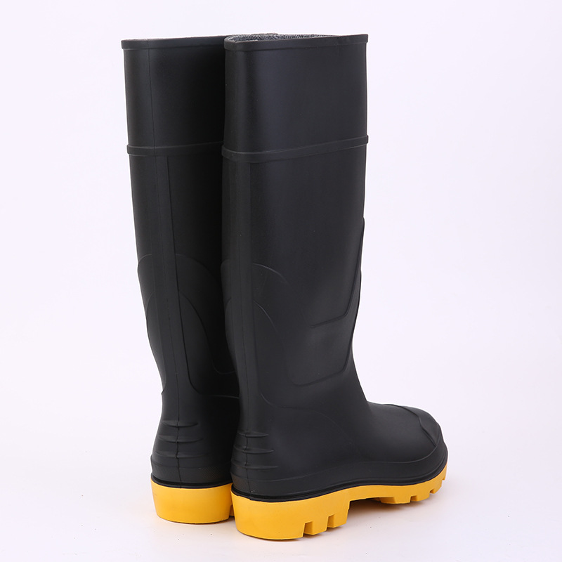 Labor Safety Rain Boots Mine Steel Top Steel Bottom Anti-smashing And Anti-penetration Industry Mine Safety Boots PVC Anti-slip