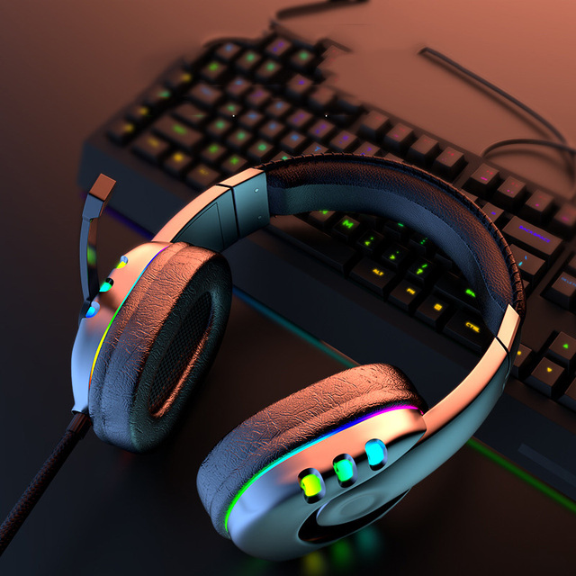 Gaming Headsets With Microphone PC Gamers Headsets Wired Headphones Backlit RGB Headset For Computer Tablet For Xbox One PS4 PS5 6